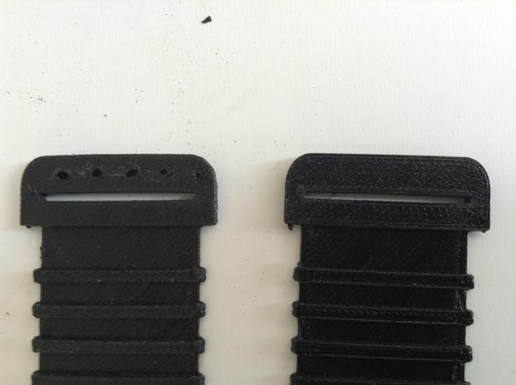 izquierda: la misma velocidad de 40mm/s durante toda la impresión   derecha: Bajando la velocidad con el Plugin desde el layer 25 y volviéndola a su normalidad en el layer 28