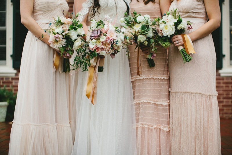 courtenaylambert.com - Dresses in different shades of blush and with different textures were selected from BHLDN.com to compliment each girls style.