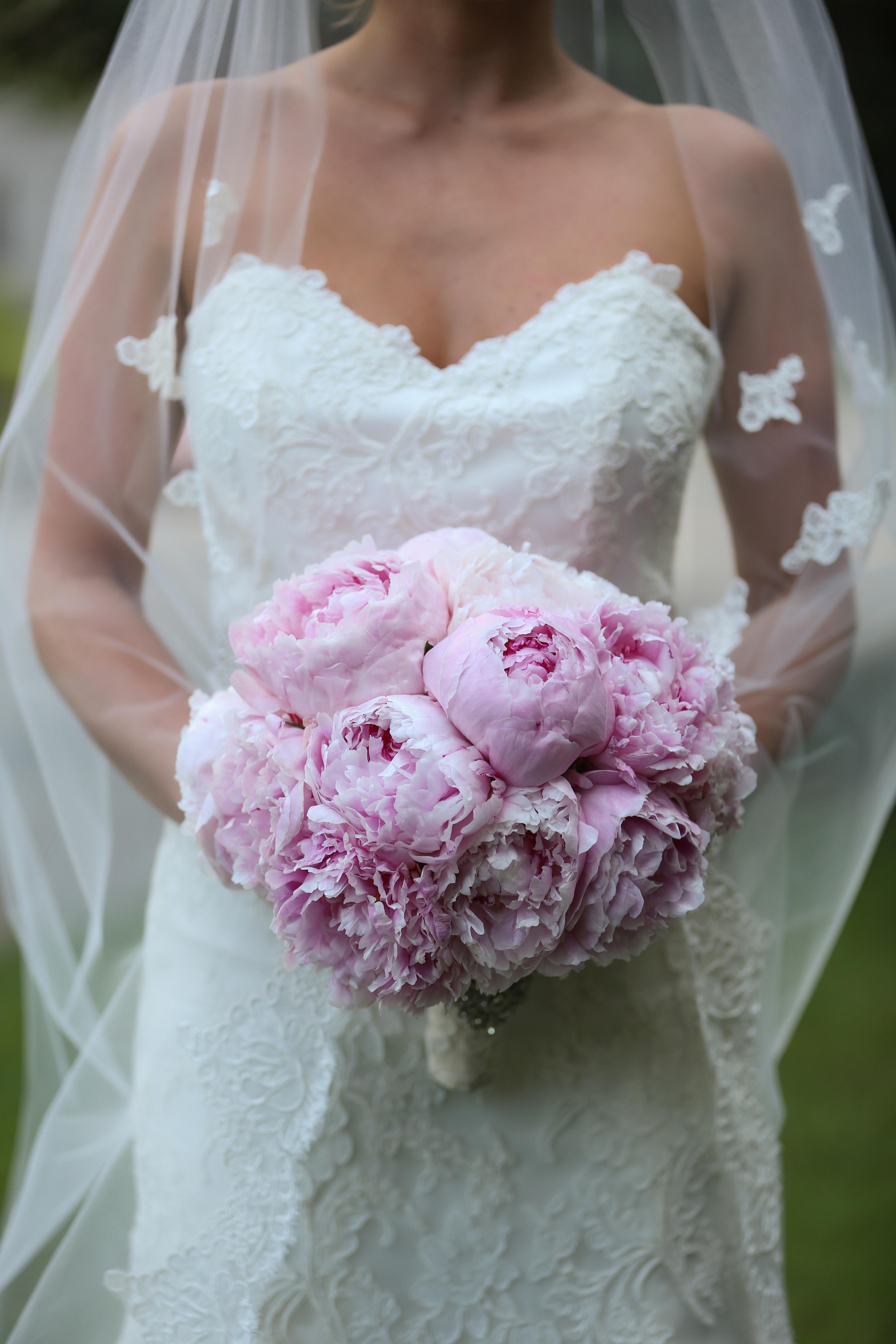 Full bridal bouquet pink peonies by Courtenay Lambert Florals (http://courtenaylambert.com).  Cincinnati Wedding flowers, destination wedding, florist, best florist, best flowers, pink peonies, Kenwood Country Club, Cincinnati weddings, Ohio weddings