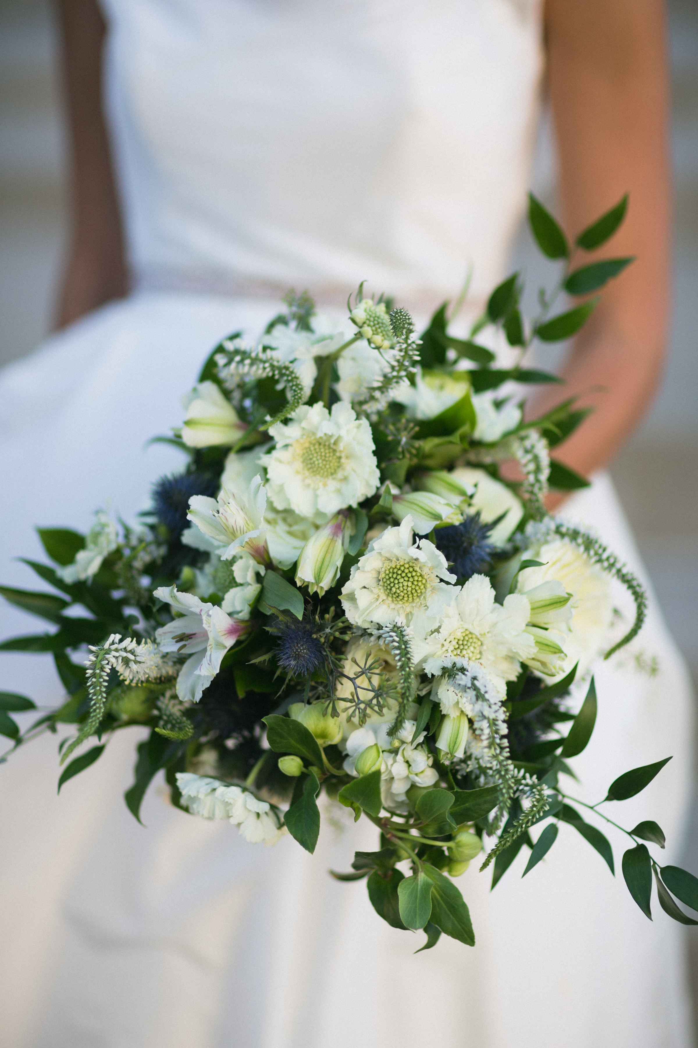 Bridal Bouquet White with Loose Greens at The Monastery