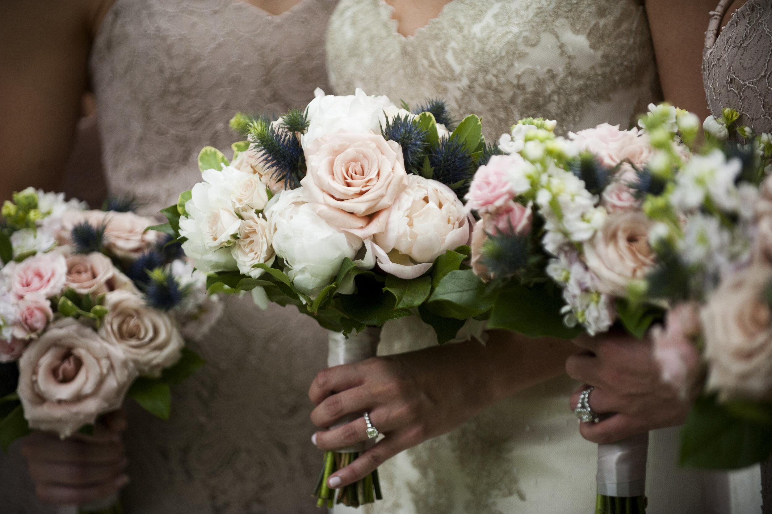 Bridal party bouquet close up