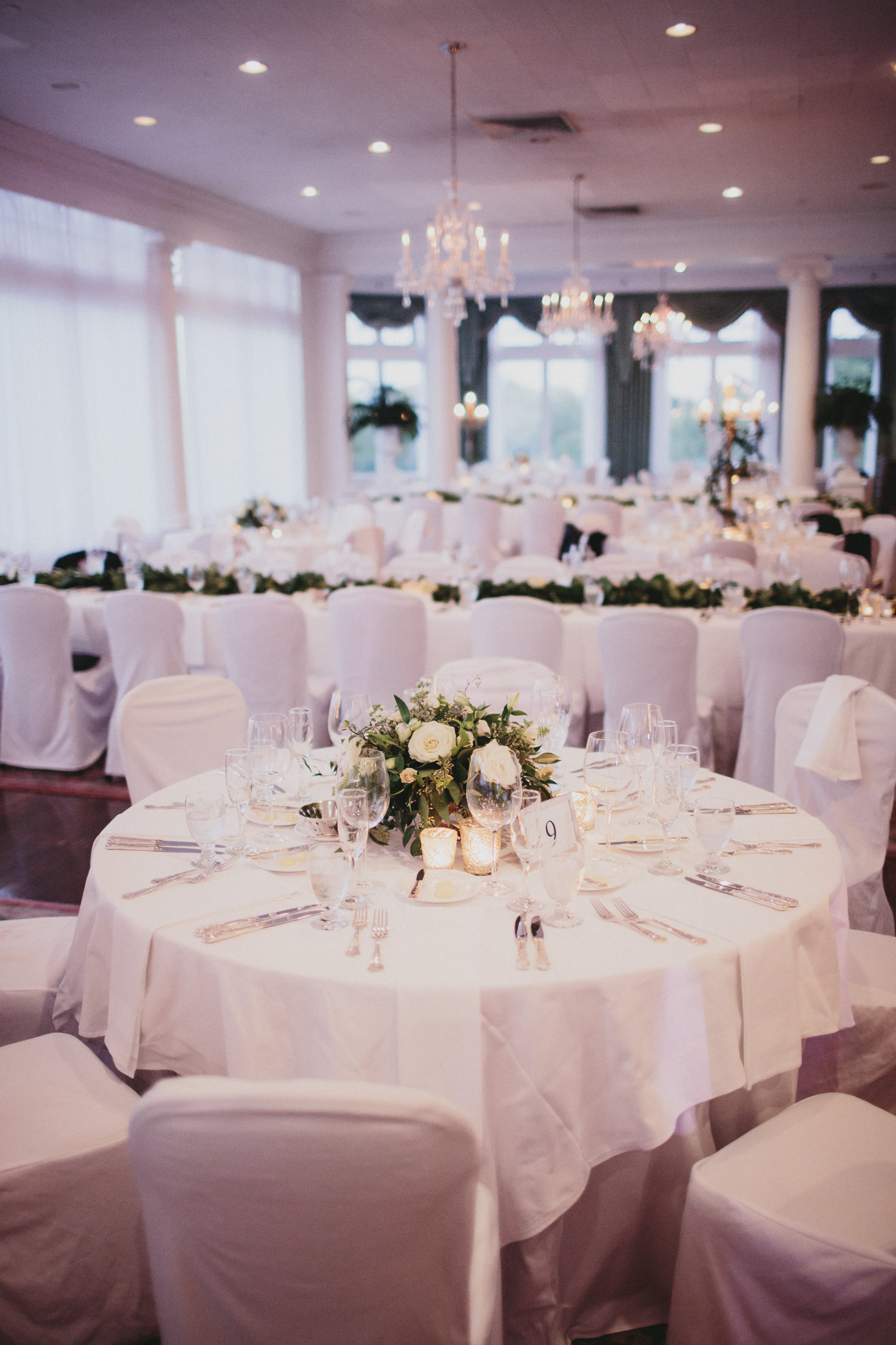 Wedding Reception green and white theme