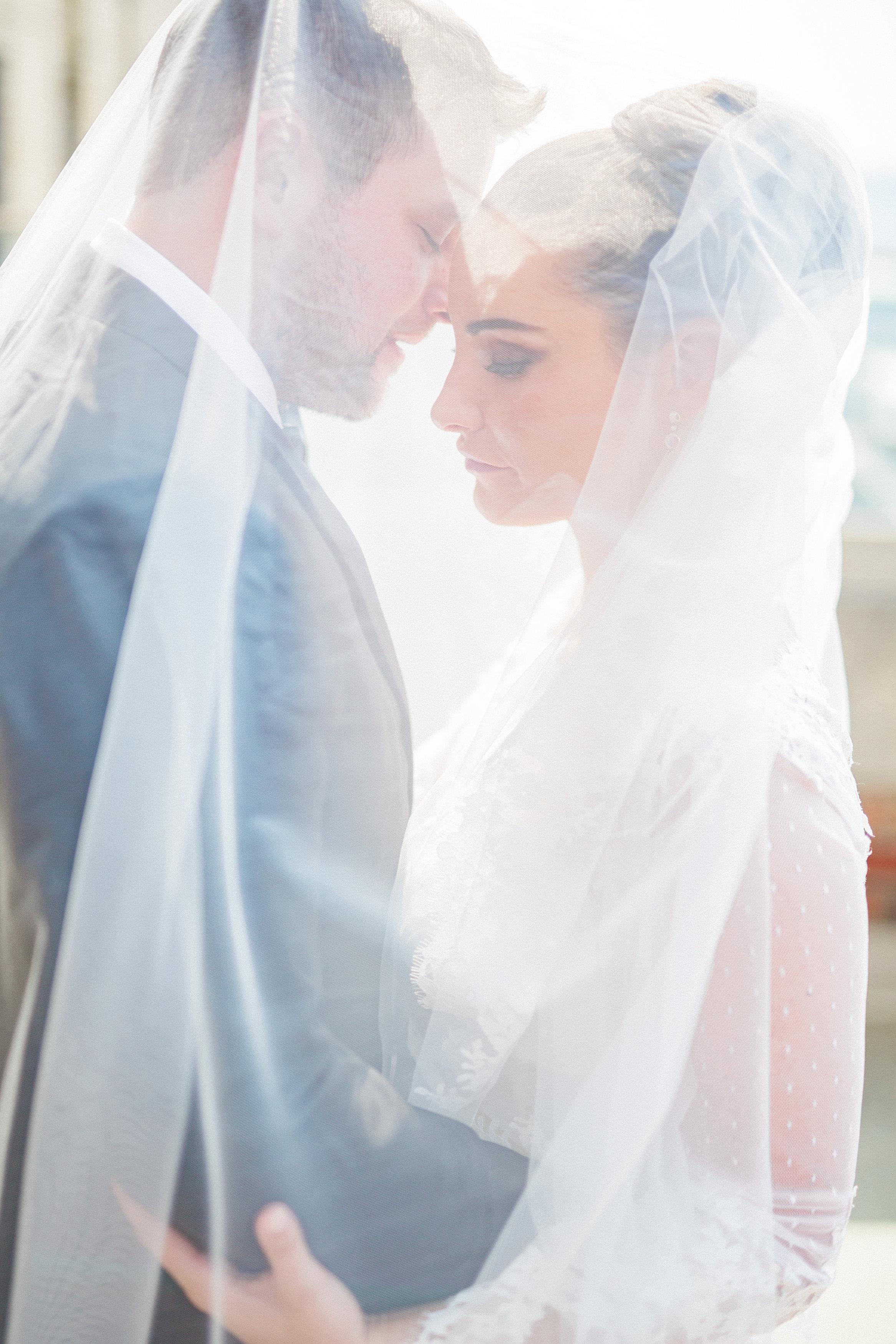 Bride and Groom shot at The Hilton Netherland Plaza Hotel Cincinnati, OH