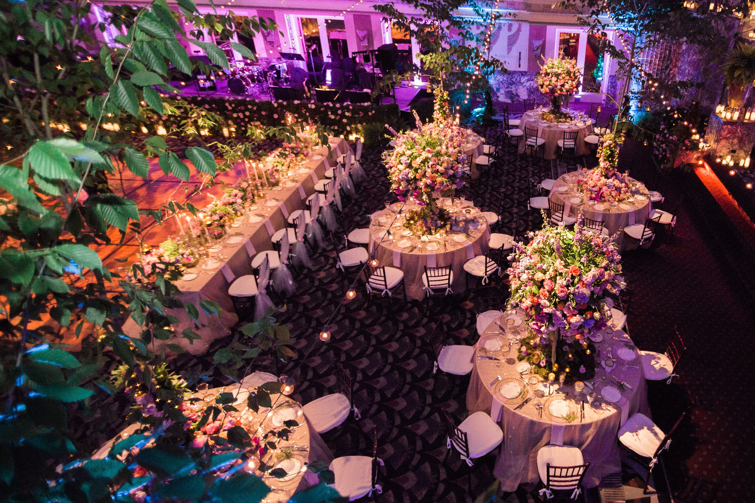Aerial Shot of Reception at The Hilton Netherland Plaza Hotel Hall of Mirrors Cincinnati, OH