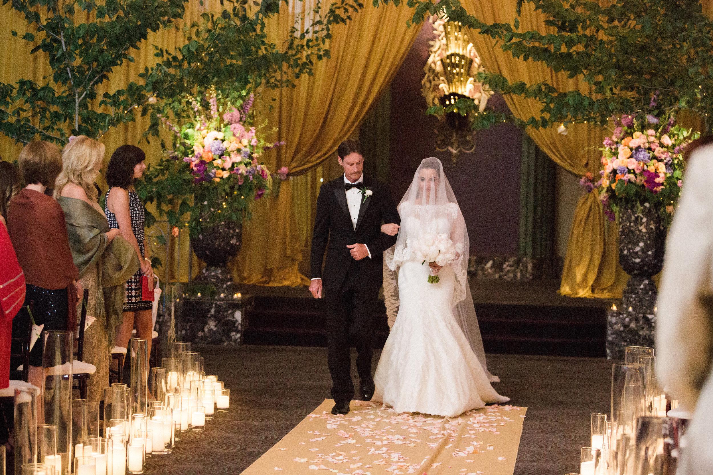 Bride walking down the aisle at The Hilton Netherland Plaza Hotel Continental Room Cincinnati, OH