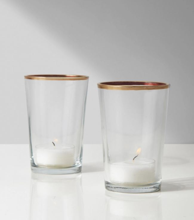 Tapered Glass Votive with Gold Rim