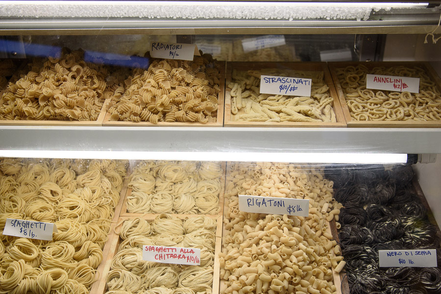 A few of the varieties of pasta for sale at Pastaio via Corta. (Photograph by Shawn Henry)