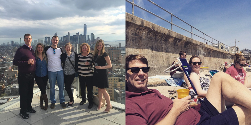 My family flows with me, too: On the roof of  The Standard , High Line, in Manhattan's Meatpacking District (left); and in the sand at Long Beach (right).