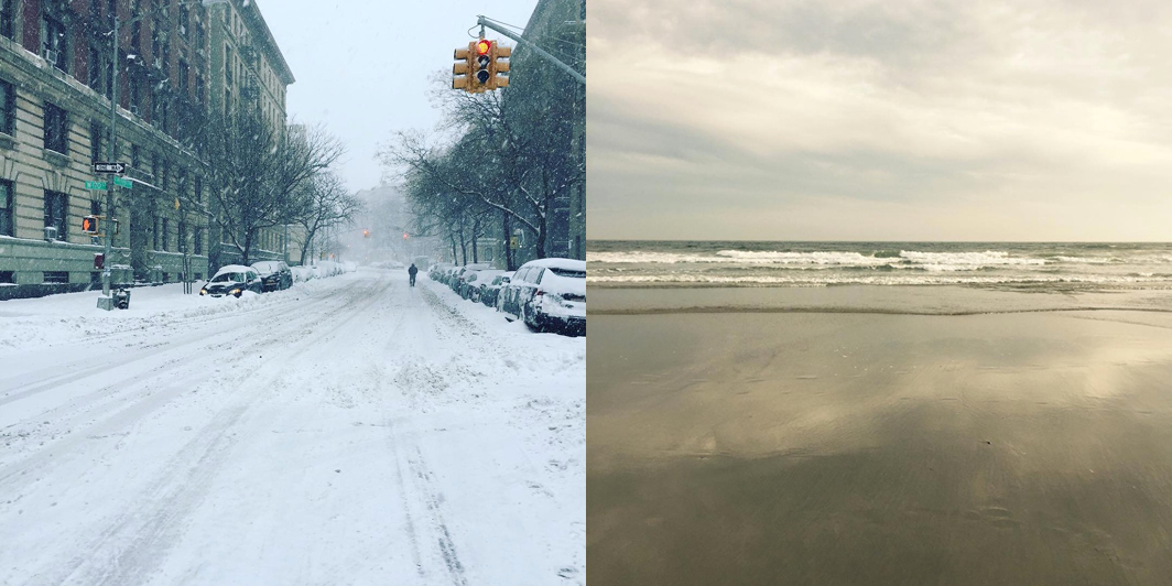 Rockport taught me all I need to know about winter (my Upper West Side neighborhood, left),and summer (a stroll on Good Harbor Beach, right)