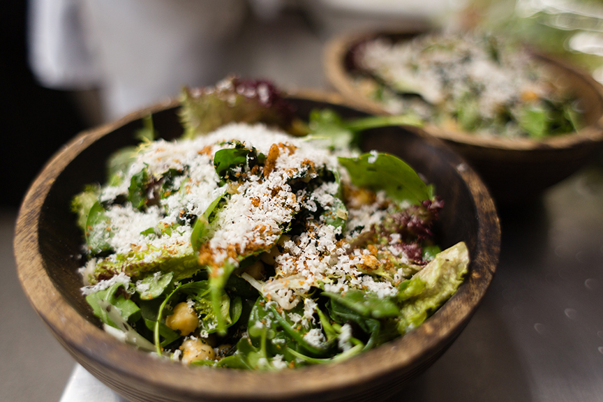 Charred kale salad with preserved lemon and chickpeas