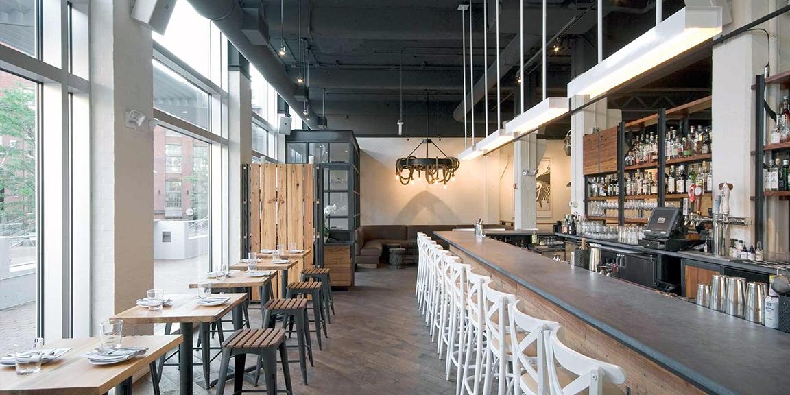 The interior of West Bridge, Matthew Gaudet's last restaurant in Kendall Square, Cambridge, Mass. (Photograph courtesy Creme Design)