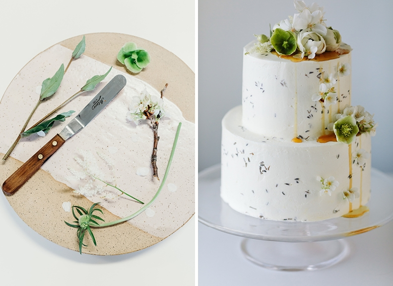 Pierce's tools of the trade (left) and the finished product, a vanilla cake with lavender honey-buttercream. (Photographs by Mark Spooner)