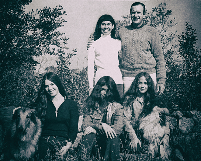 The Hahn family in Rockport in 1971, Ina and Herb, top row, and daughters Lisa, Pamela, and Lauri, and their collies.