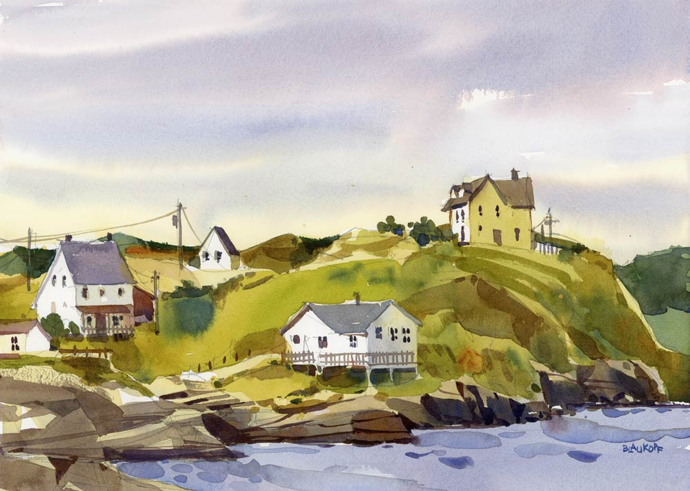 Blaukopf compares Canada's Newfoundland coast to Cape Ann. Above, her painting of the town of Trinity.