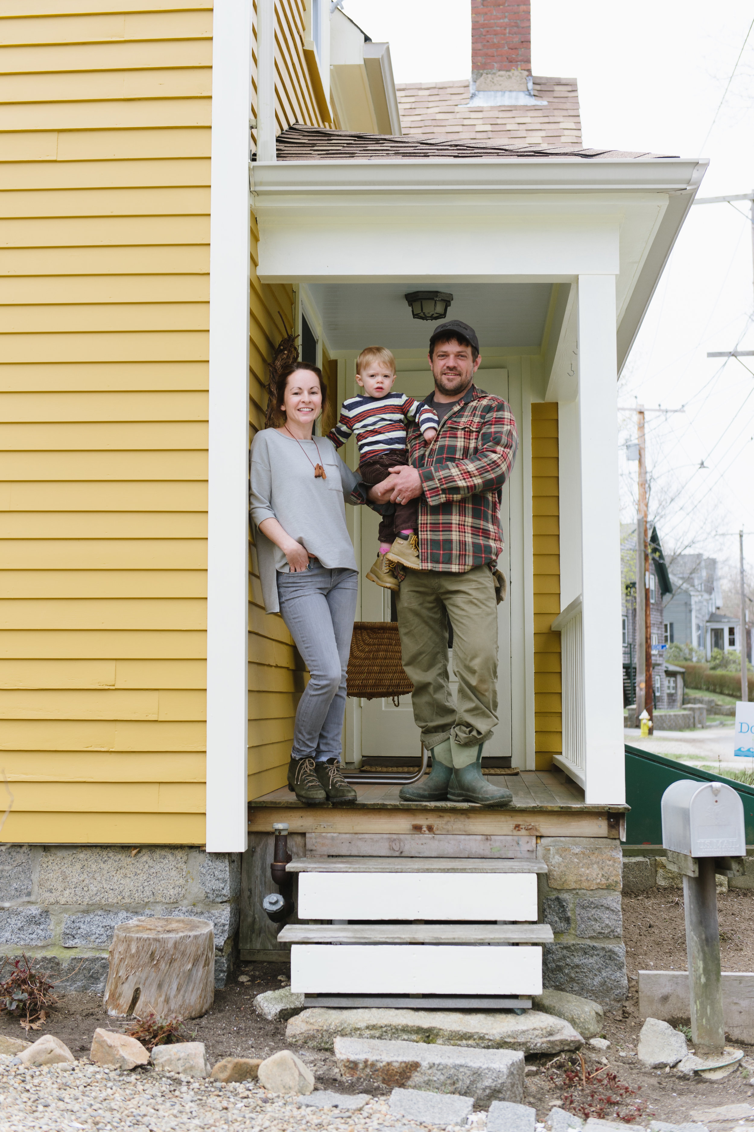 The Kristen, Ronin, and Dylan L'Abbe-Lindquist at their Pigeon Cove home. (Photograph by Katie Noble)