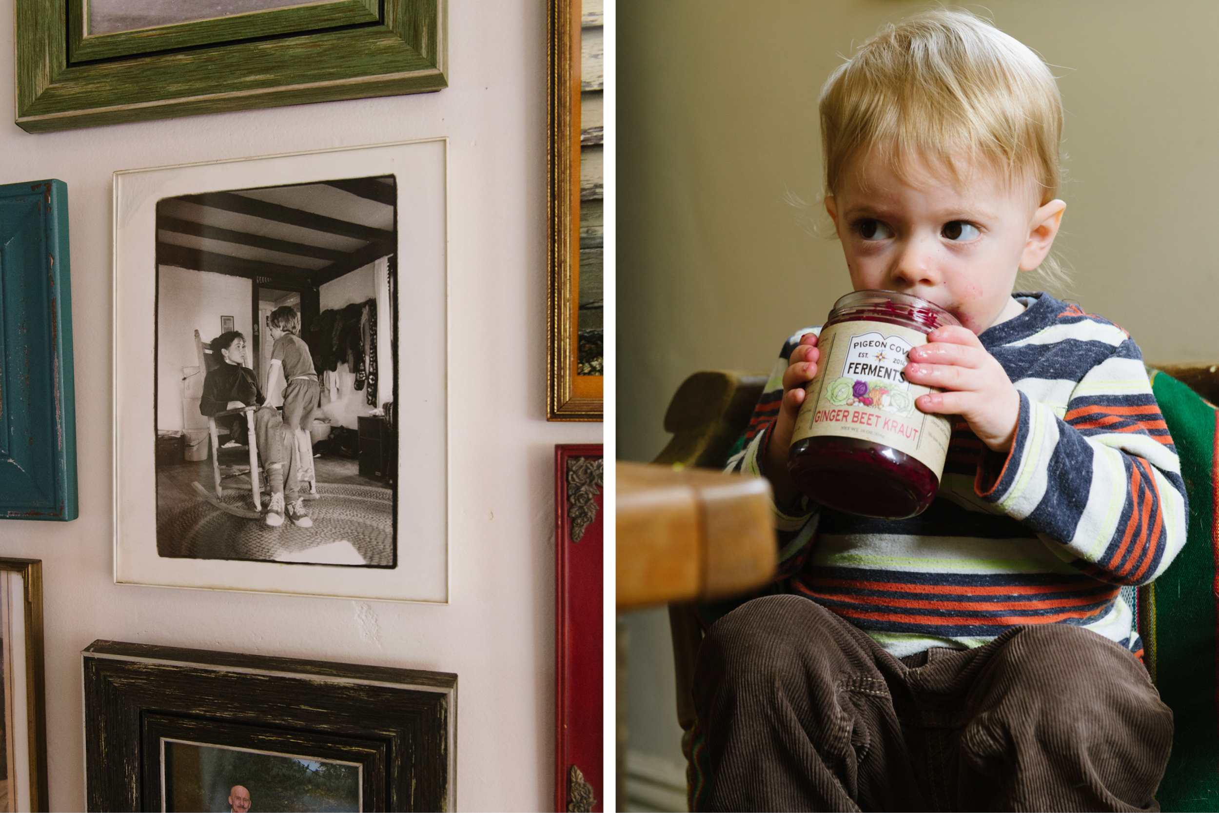 Dylan, with his mother, on the family photo wall. Ronin (right) just loves him some sauerkraut. (Photographs by Katie Noble)