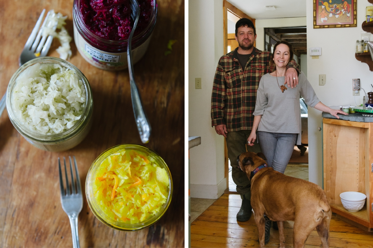 A sampling of Pigeon Cove Ferments sauerkrauts, from top, Beet Ginger, Salsakraut, and Turmeric Ginger. Dylan and Kristen at home (right). (Photographs by Katie Noble)