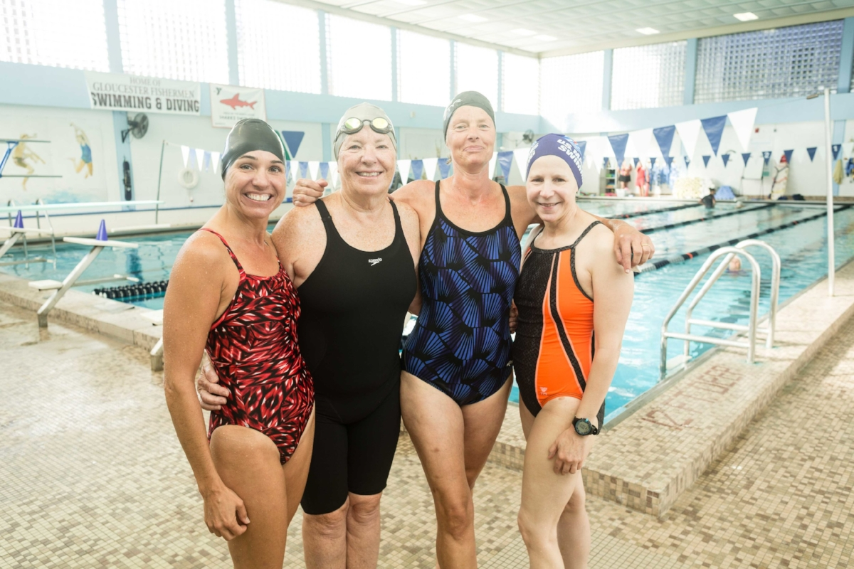 "Team ""Sli-Fly"" from left: Lisa Zarket, Slifer, Frieda Grotjahn, and Judy Gimik. (Photograph by Jason Grow)"