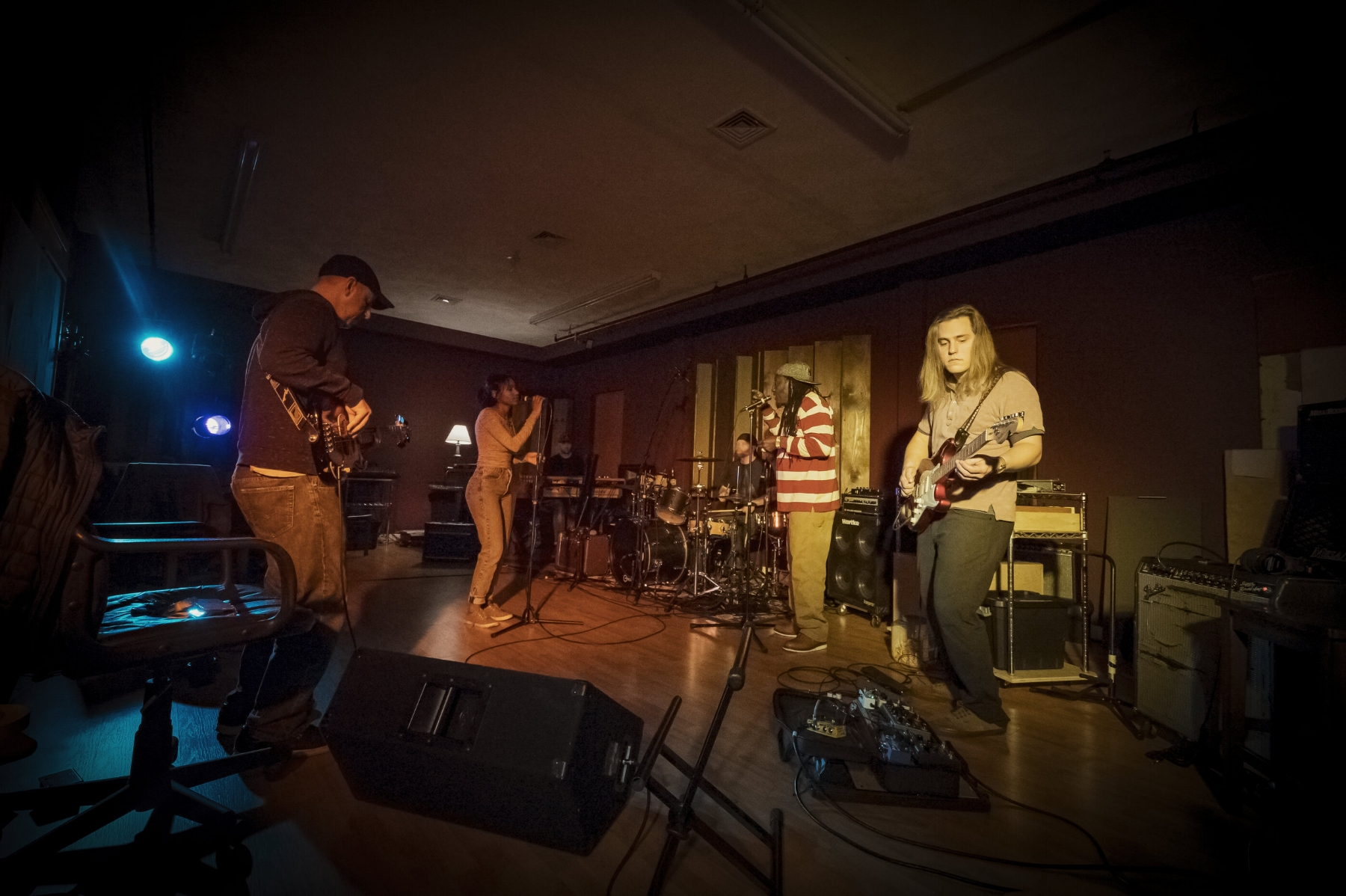 Pardee and his band in rehearsal. (Photograph by Steve Marsel)