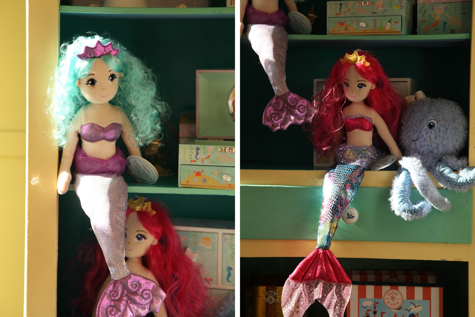 There are no Barbies at The Paper Mermaid and most of the dolls modestly wear bandeaus or seashells over their tops. (Photographs by Dana Smith)