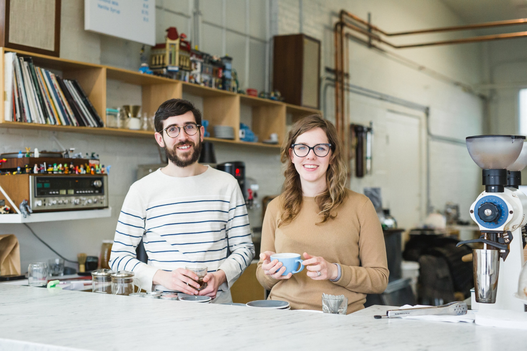 Chris Gatti (left) and his partner, Melissa Bartz, owners of Ipswich's Little Wolf Coffee. (Photograph by Esther Mathieu)