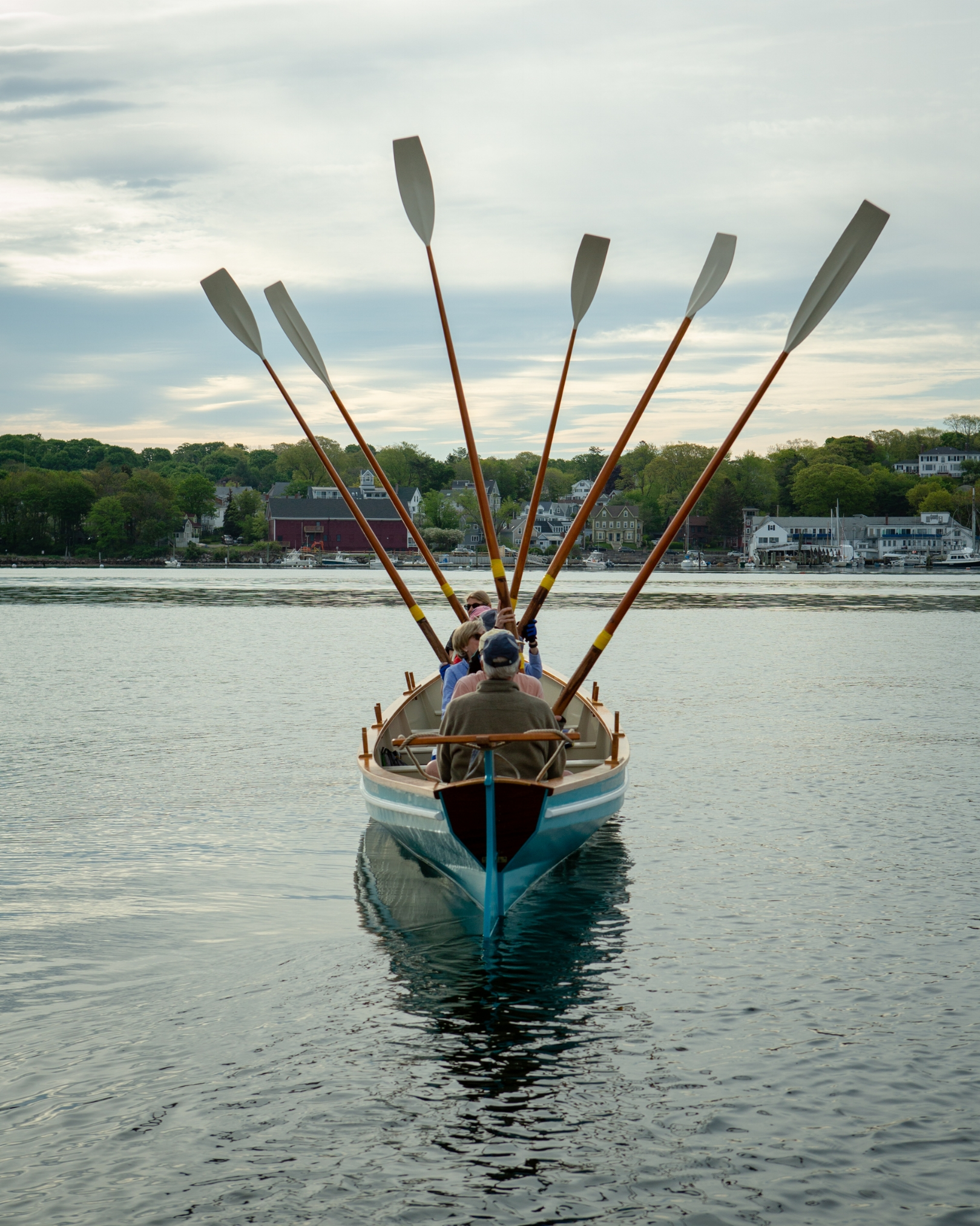 """""""Stand Oars!"""" — the Gloucester Gig Rowers prepare to row. (Photograph by Jason Grow)"""
