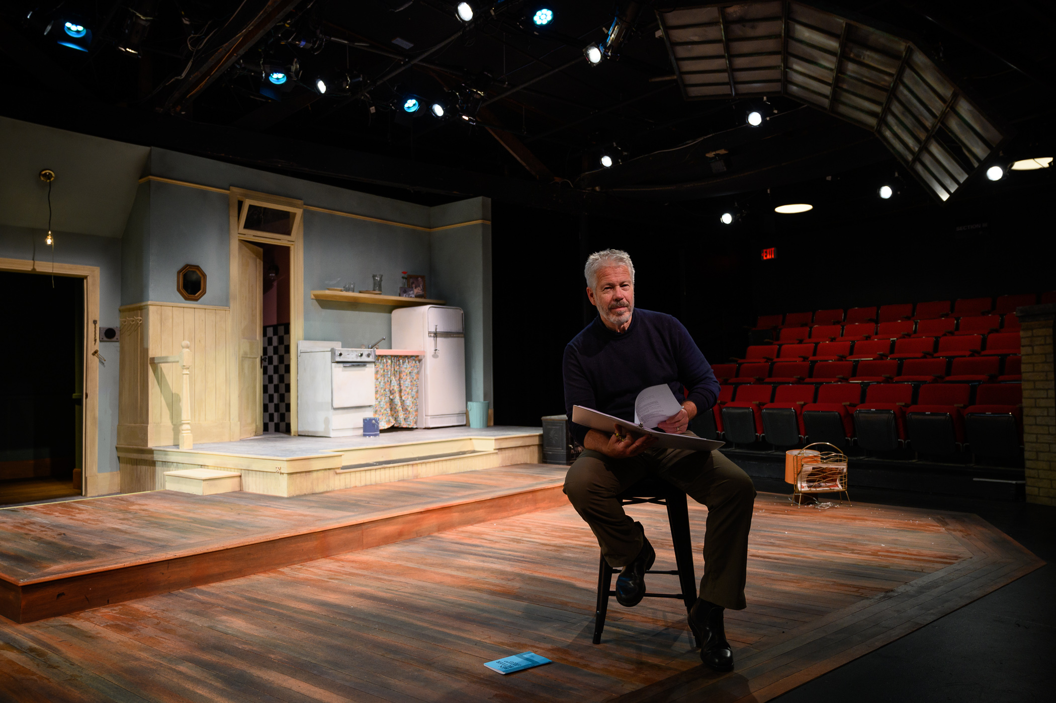 Walsh on the set of Neil Simon's  Barefoot in the Park , at the Gorton Theatre. (Photograph by Shawn Henry)