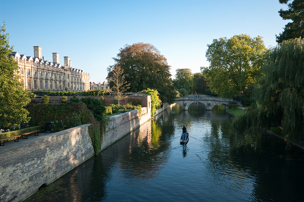 The beautiful 'Backs' of the many Colleges in Cambridge.