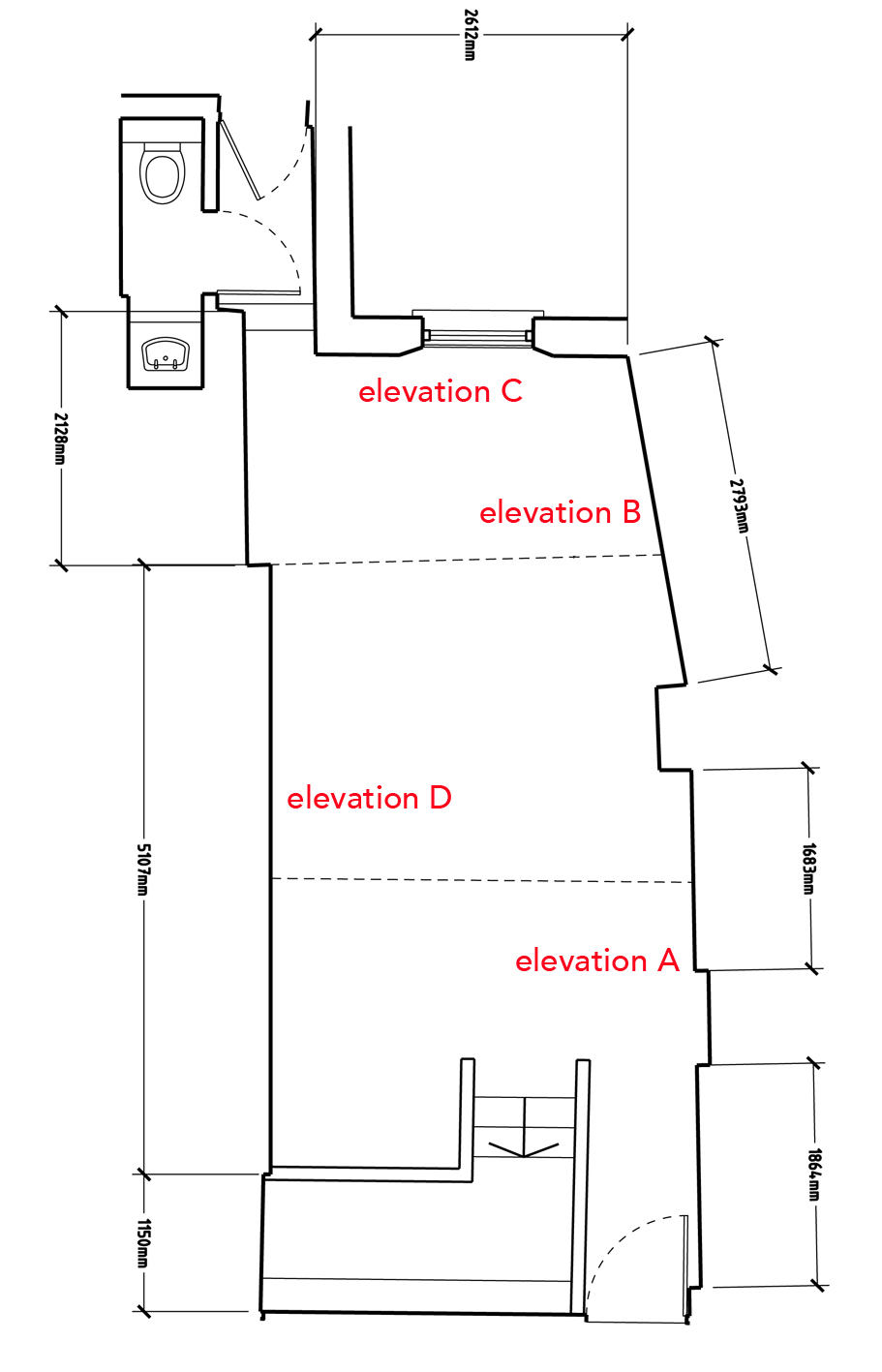 Floor plan of the gallery to scale