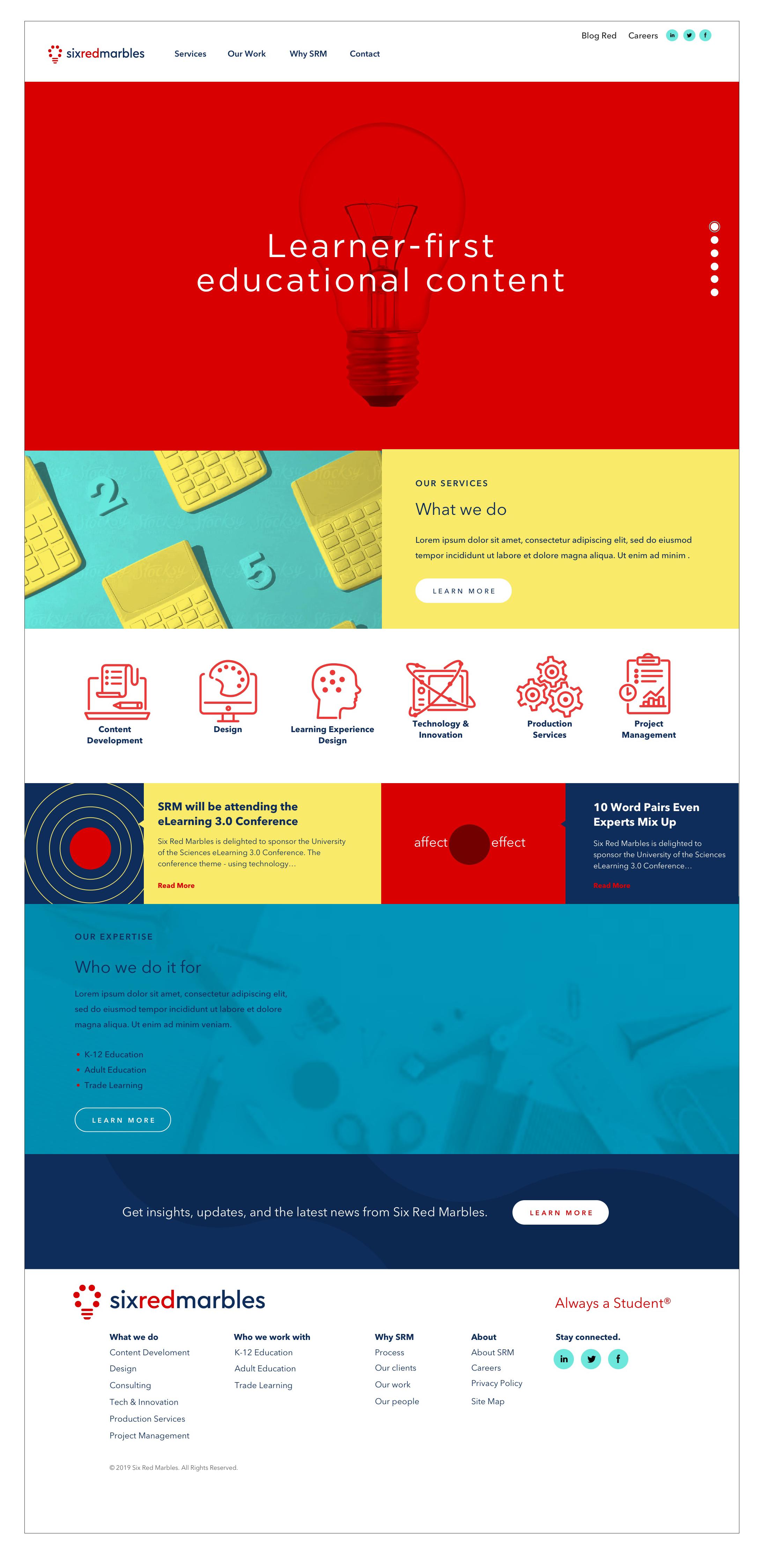 WEBSITE DESIGN - Proposed design for Six Red Marbles.