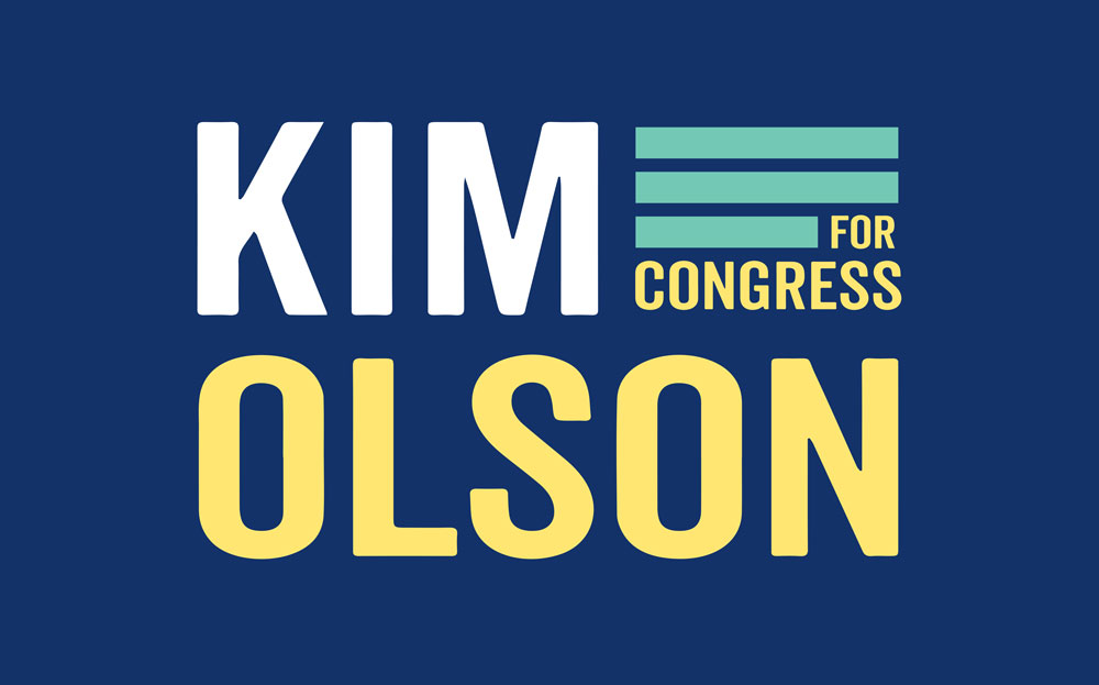 "THE FINAL LOGO - Ultimately I came to the design with the three solid lines and clean, modern type. The three lines are ambiguous in nature, calling to mind the stripes of the flag, lines of a field (paying homage to Kim's strong background in agriculture), as well as the pilot's wing. When the ""For Congress"" is removed from the design, this stands as an even stronger symbol of Kim's military achievement."