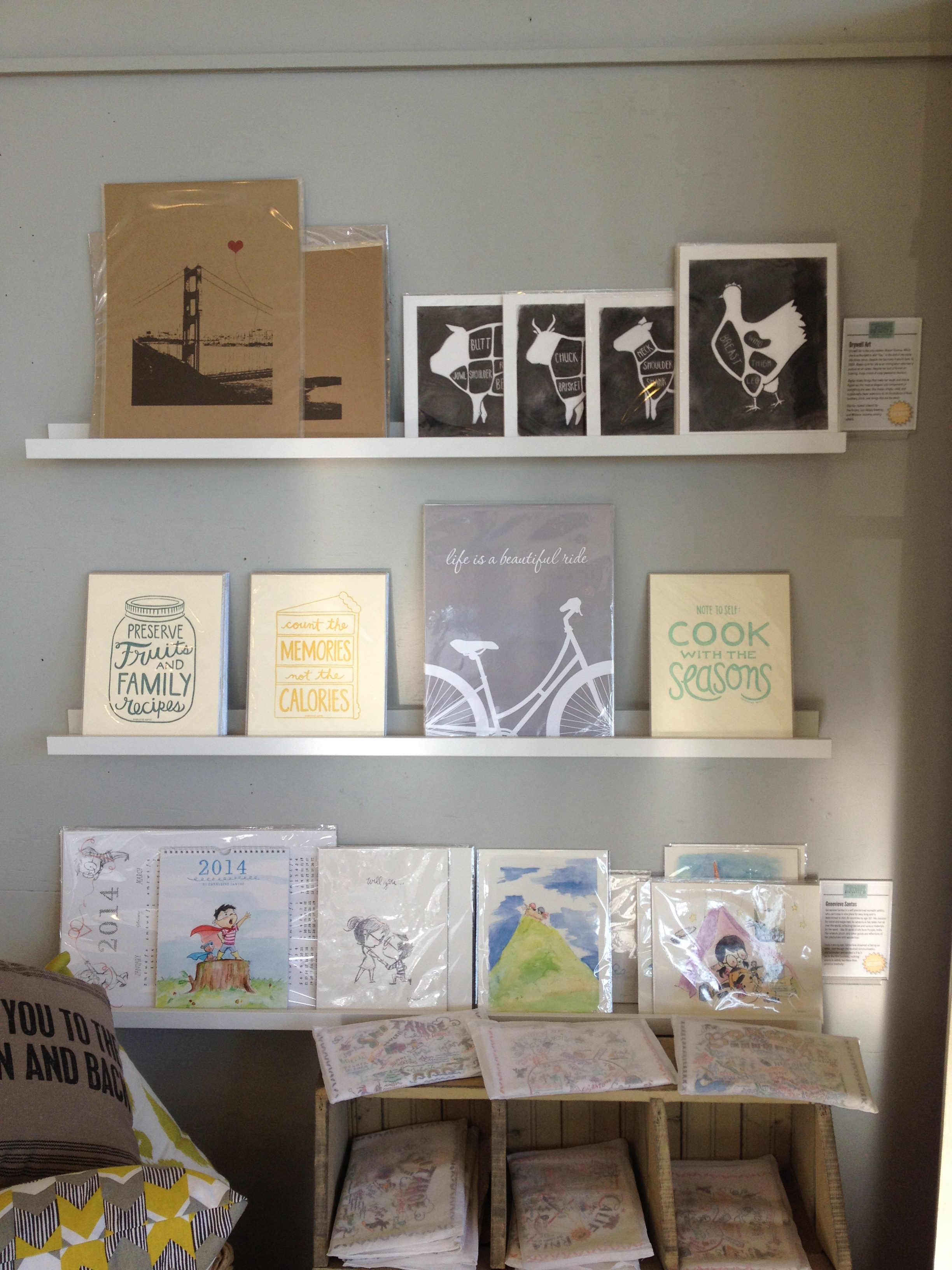 note•ify prints on the top row next to Drywell Art prints
