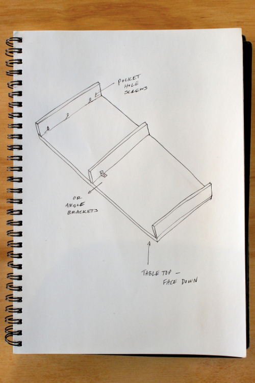 To avoid holes in your top, fasten the supporting pieces with angle brackets, or by drilling pocket holes