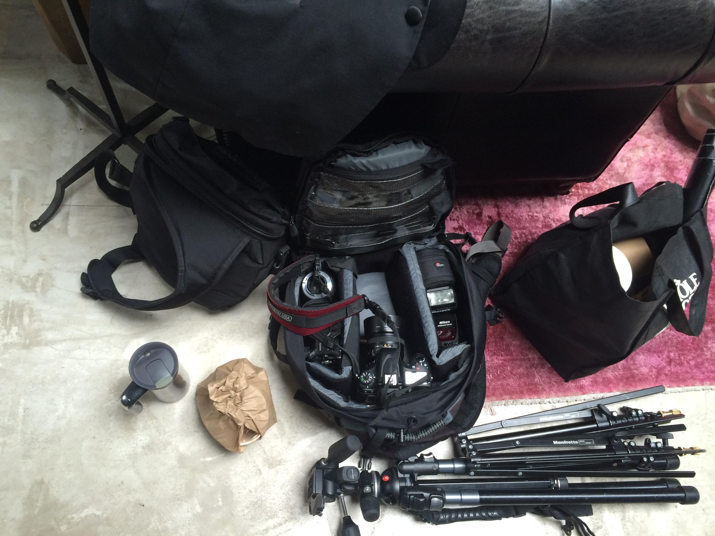 Shane Izykowski's  photo equipment + the necessary coffee