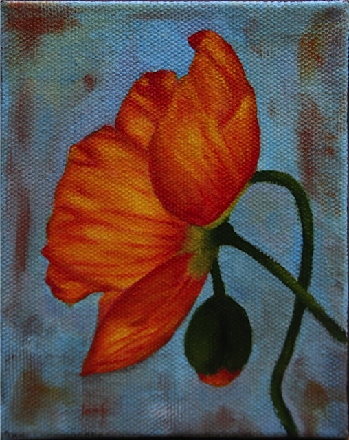 "Orange Icelandic Poppy 5"" x 4"" oil on canvas"
