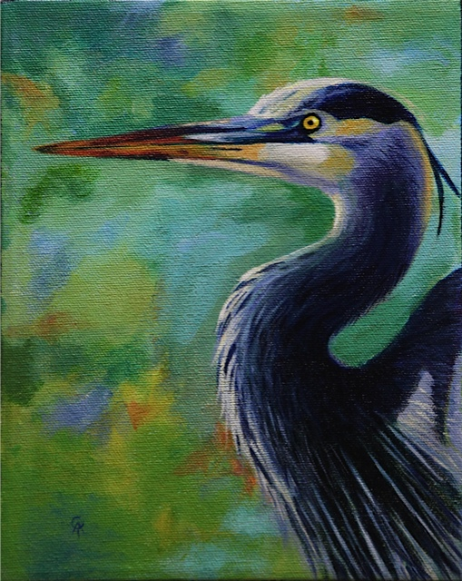 "Great Blue Heron 10"" x 8"" acrylic on canvas"