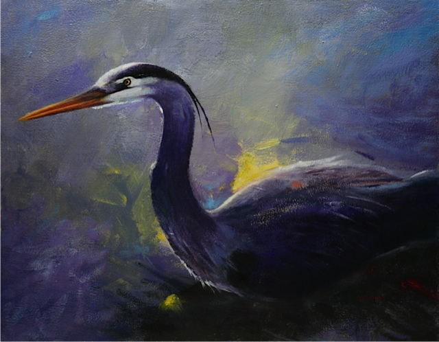 "Heron on the River 11"" x 14"" acrylic on board"