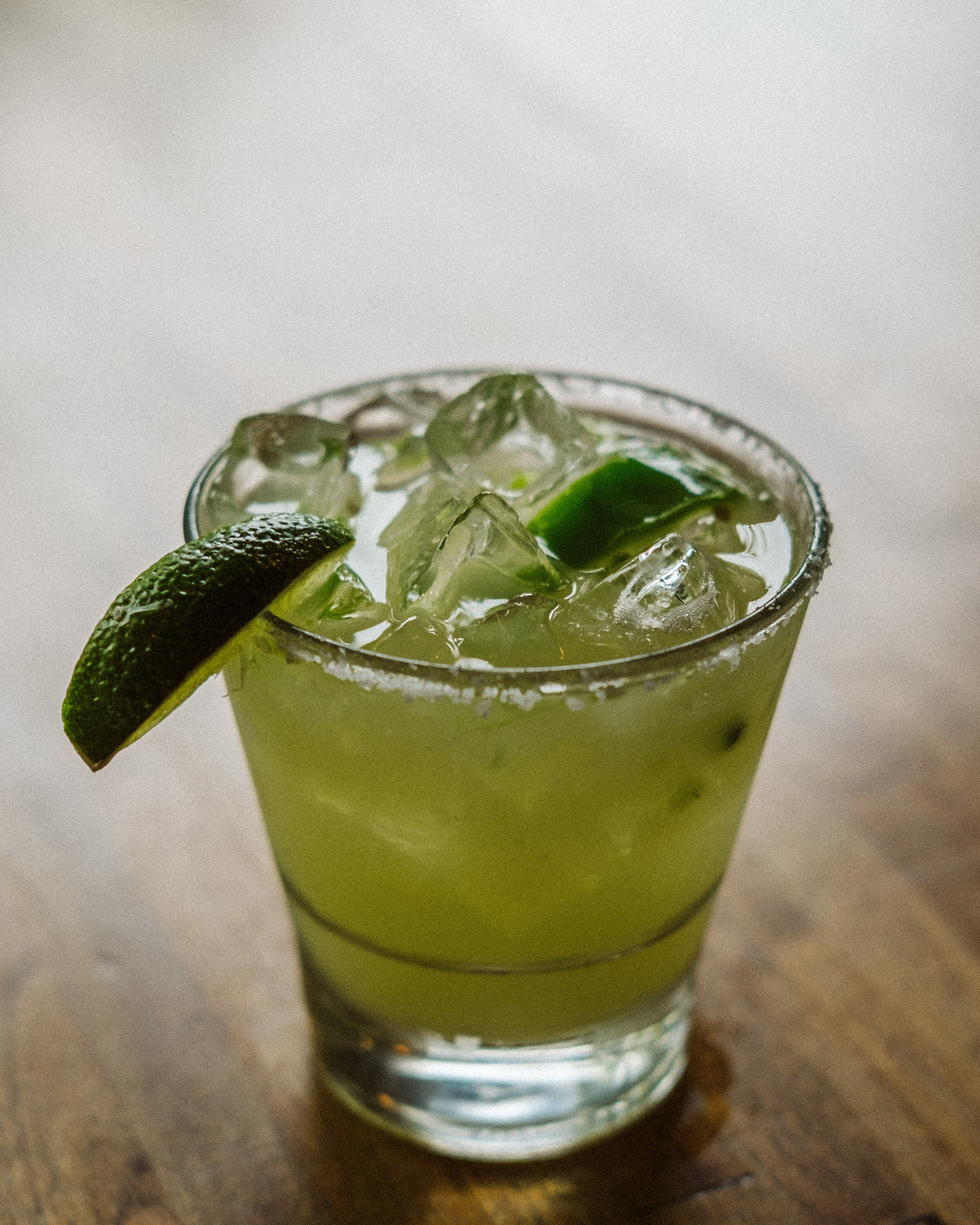 FireChuck Margarita - Cimarron Tequila / Rumhaven Coconut / Lime / Simple / Jalapeno