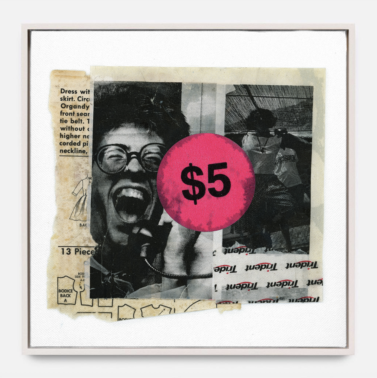 FIVE BUCKS  (2018)   Mixed Media on Panel One of a Kind Hand Finish 30 x 30 inches Edition of 3 | (2 available) $ 1,000.00