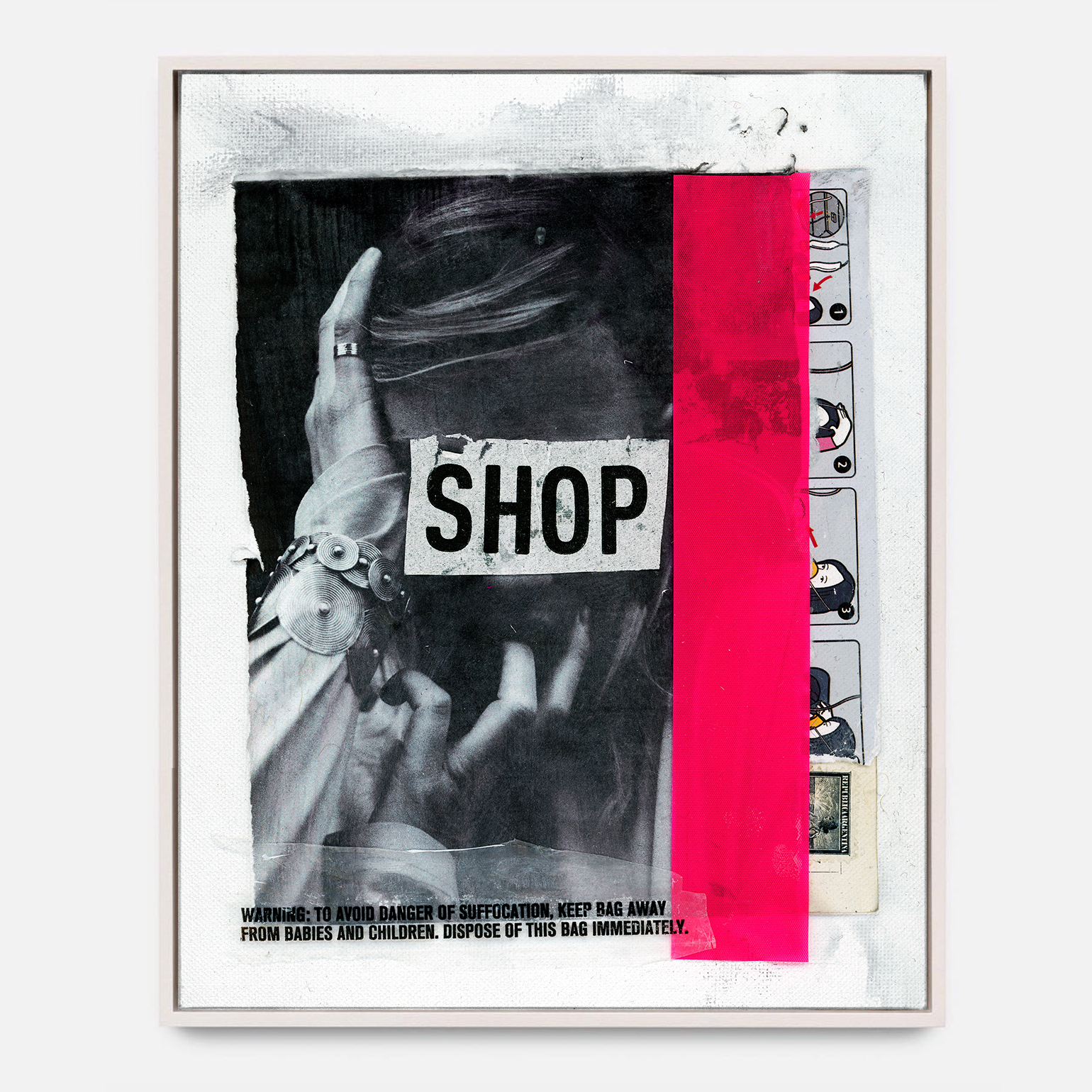 SHOP SHOP SHOP  (2018) Mixed Media on Wood Panel 48 x 72 inches One of a Kind $ 2,000.00