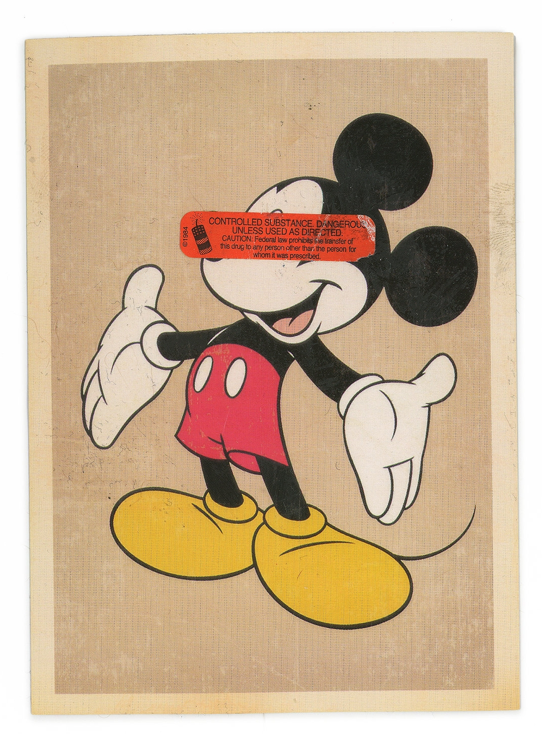 MICKEY, LE RAT  (2016)   Mixed Media on Paper 5 x 7 inches (framed) One of a kind $ 750.00