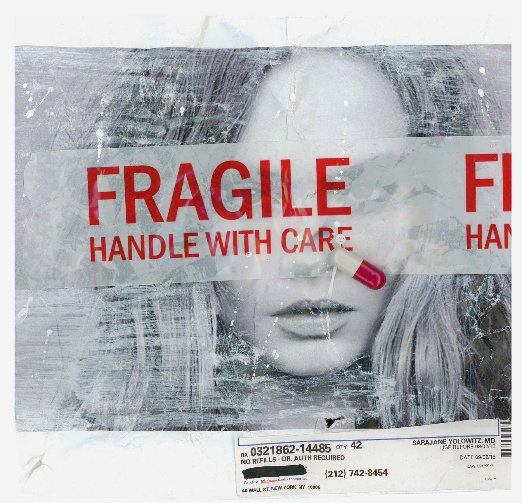 FRAGILE IV  (2016)   Mixed Media on Paper 9 x 9 inches (framed) One of a kind $ 750.00