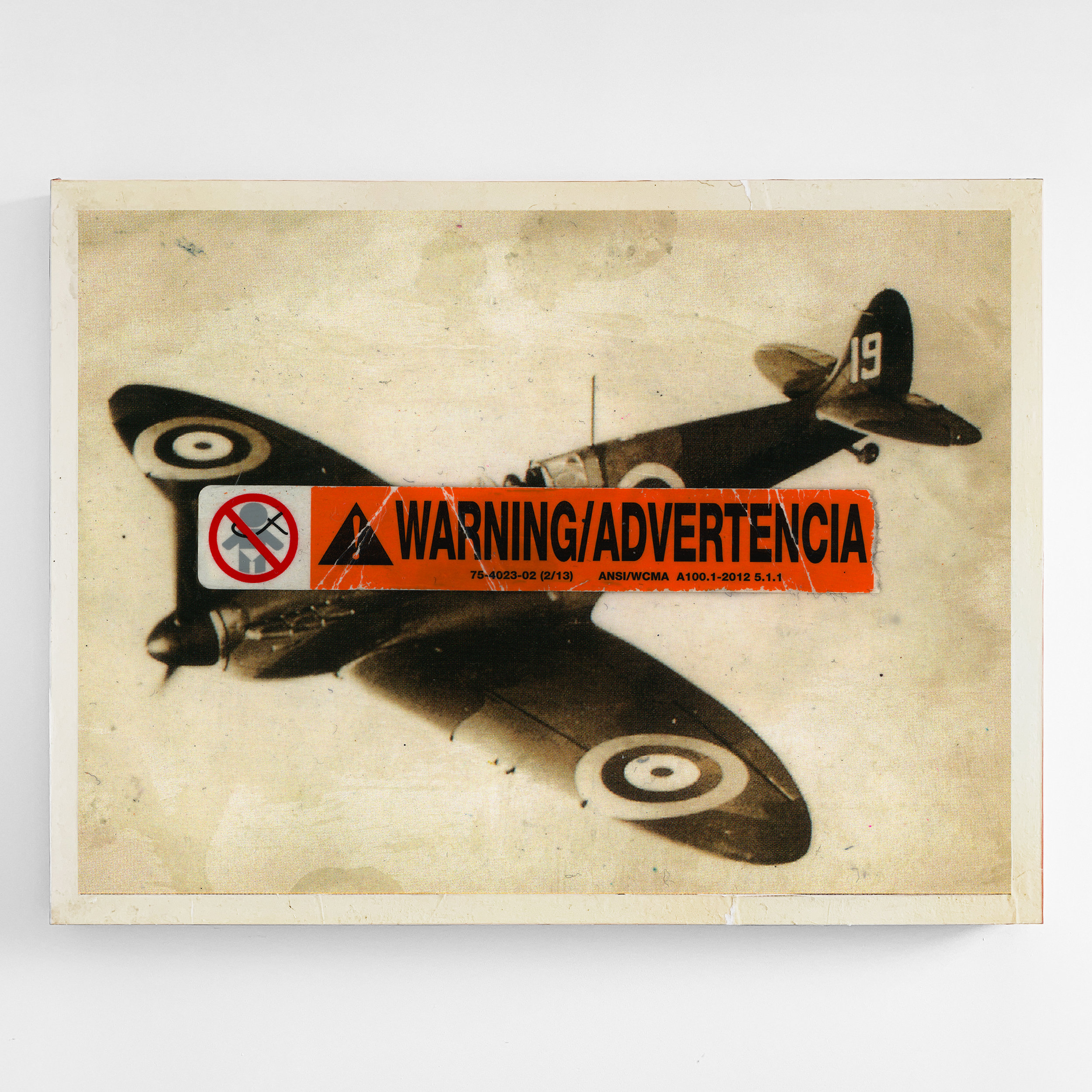 WARNING  (2018) Mixed Media on Wood Panel. Resin Finish 40 x 30 inches One of a Kind $ 1,000.00