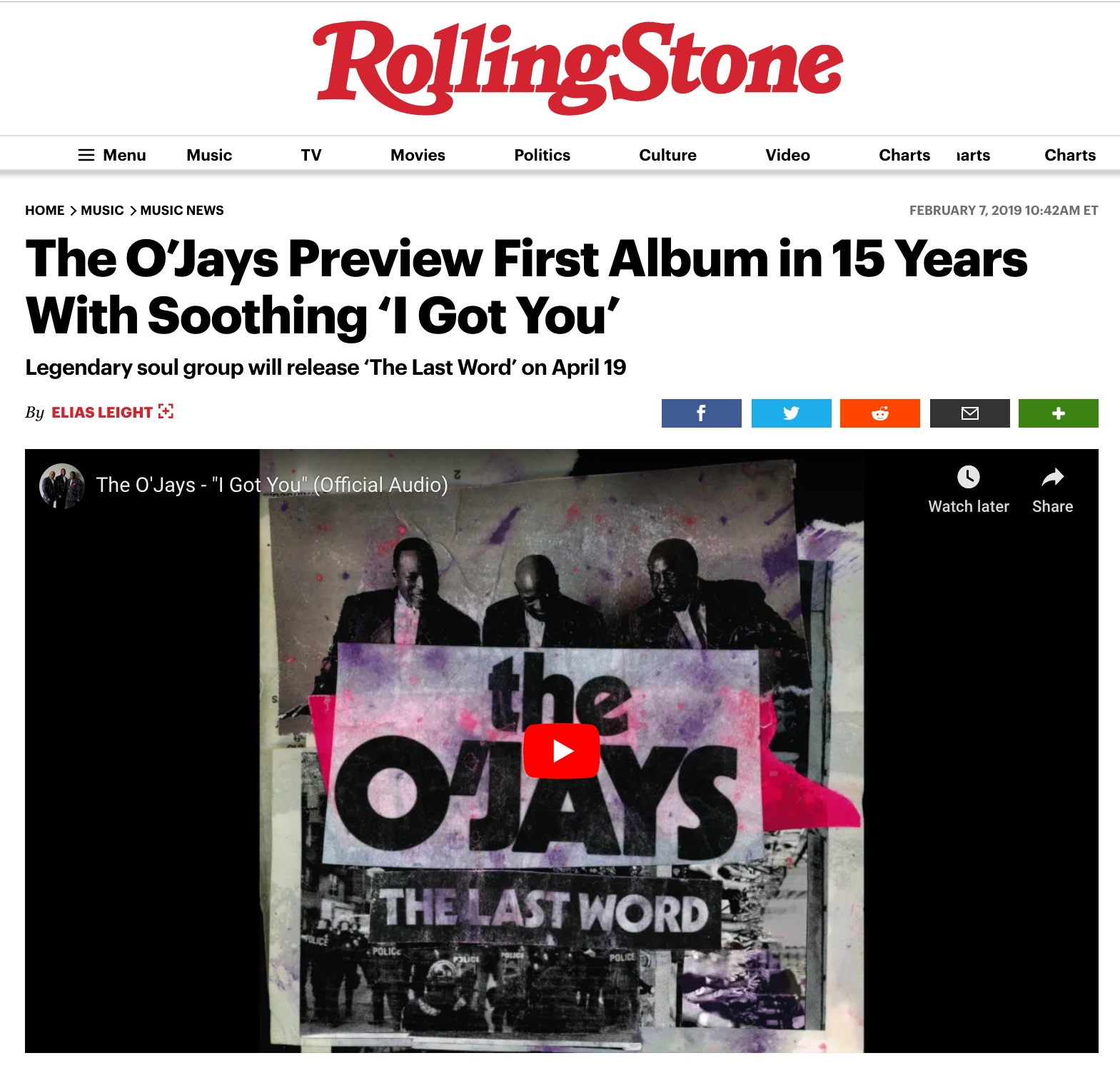 Rolling Stone Magazine announcing the album release.