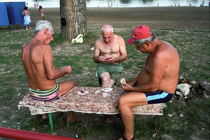 Playing cards by the Dniester river.