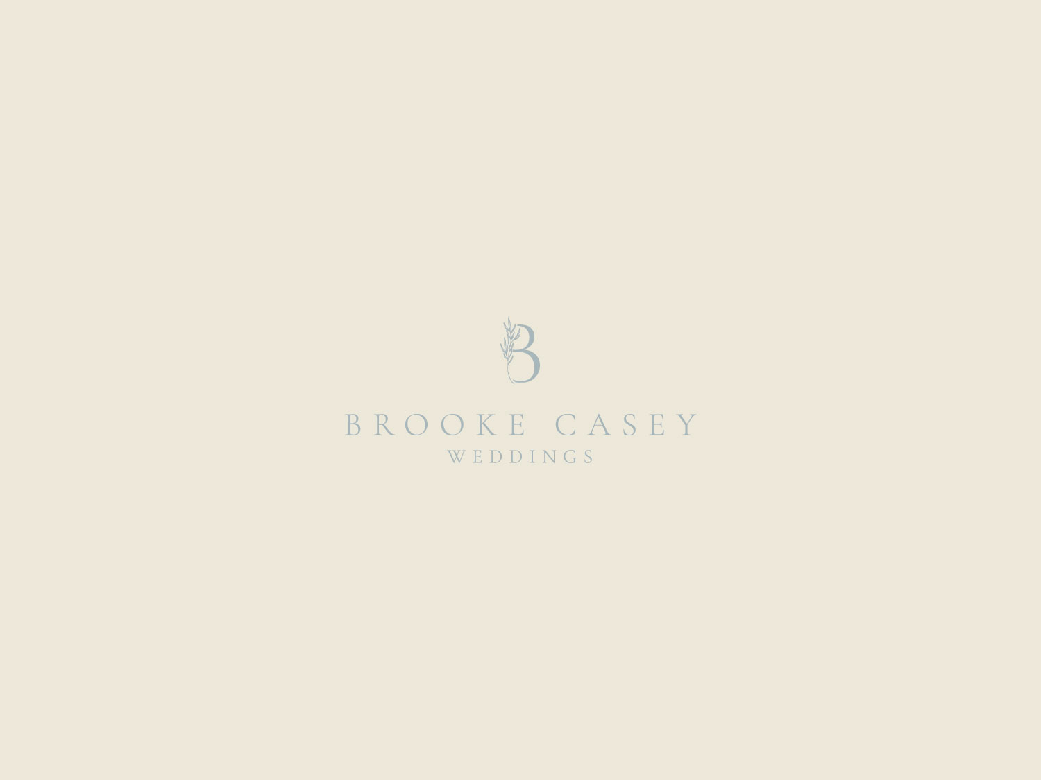 Since Brooke has a very calming presence, we went with a peaceful color palette of soft blues and muted neutrals. We also chose a serif font that had a boutique feel while still speaking to her down-to-earth brides. We added a foliage detail to her logo to complete the organic look.