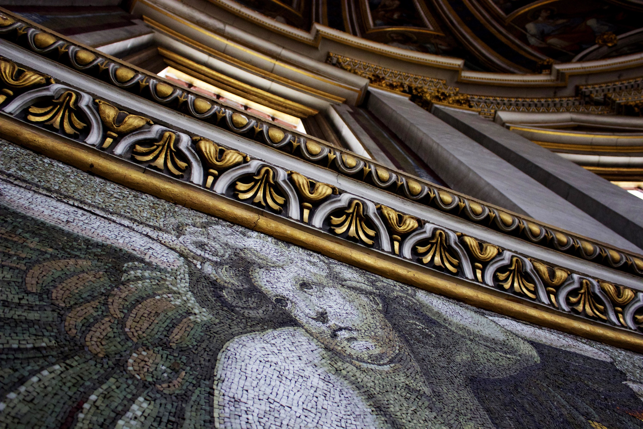 ^ Beautiful mosaics on the walls walking up to the top of the dome. So much detail!