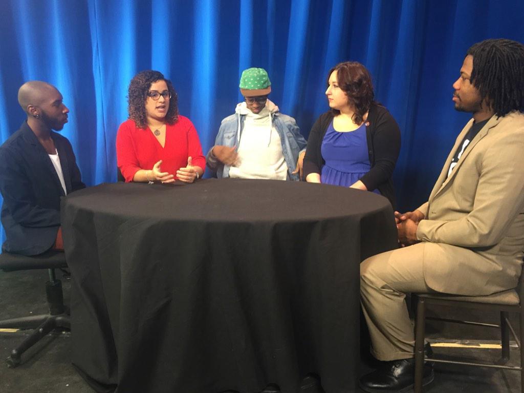 Left to right: Marcus Donaldson, Natalia Román Alicea, Matthew L. Thompson, Mallory Galbreath, Marvin Logan, Jr.  Kent State student leaders talk campus diversity