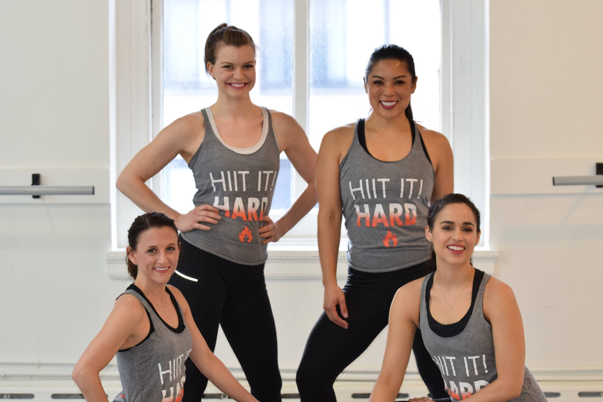 Meet your HIIT IT! instructors! From left to right, Helene Darmanin, Daphnie Yang, Whitney Biaggi and Tricia Cramer.