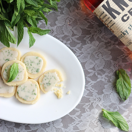 These dainty shortbread cookies are infused with the flavors of mint and bourbon.